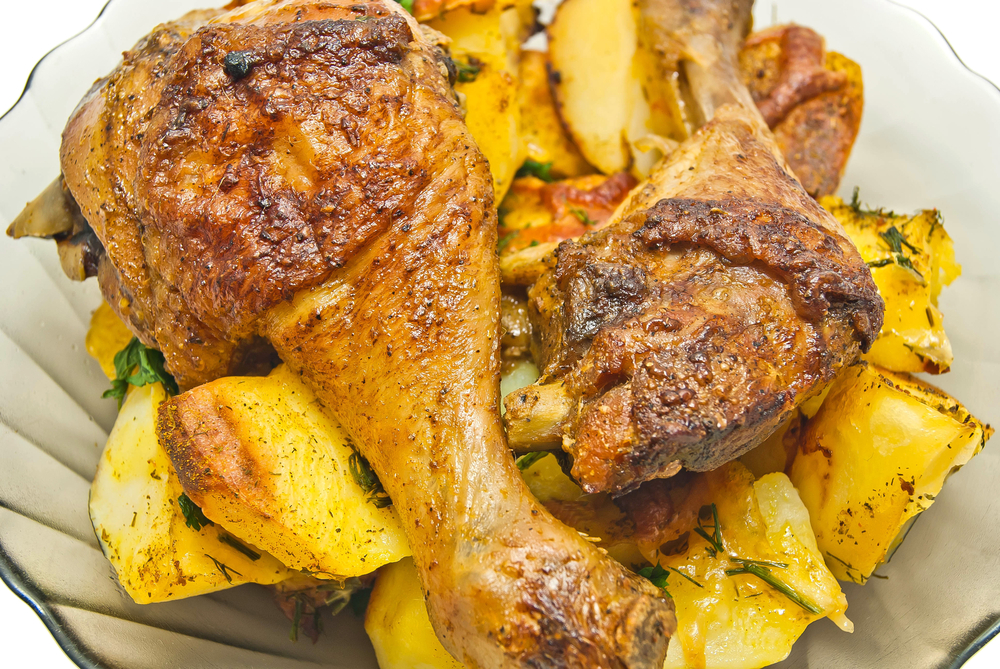 pollo patatas piel