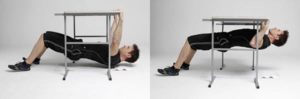 remo bajo mesa sin gimnasio